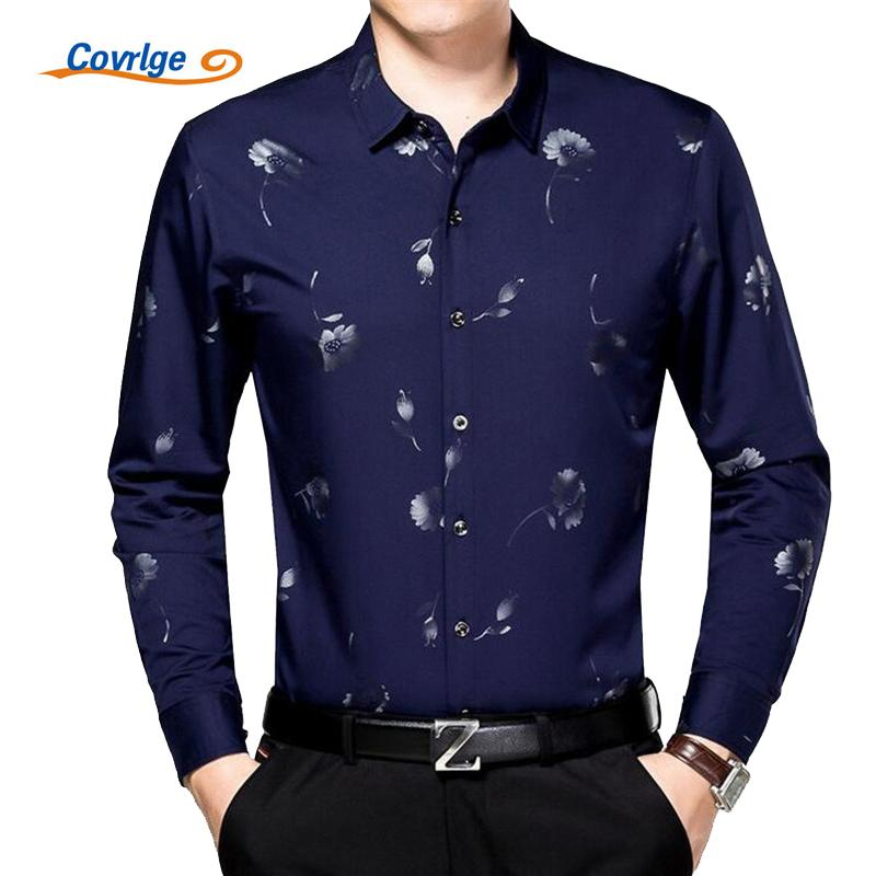 Wholesale- Covrlge 2017 Spring Men Business Shirt New Fashion Men's Bamboo Fiber Long Sleeve Shirts Brand Clothing Male Print Dress MCL045