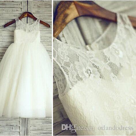 Vestido de la muchacha de flor de la nueva llegada Vestido del desfile de la fiesta real para la boda Vestido de la comunión de la boda de las muchachas blancas blancas / de los niños / de los niños