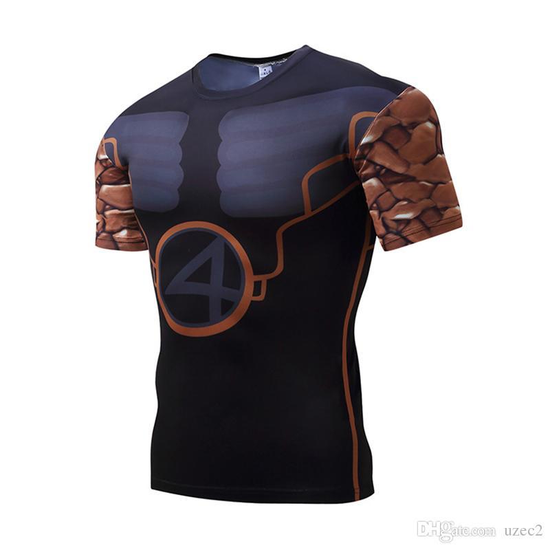 2017 новые мужские с короткими рукавами колготки каменные люди лайкра быстросохнущая футболка спортивная одежда для фитнеса