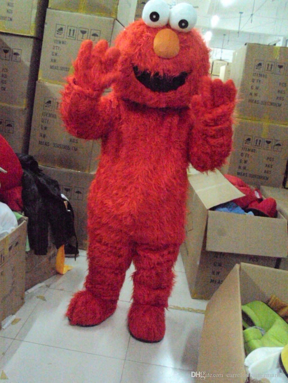 Venda quente Adulto Elmo Red Monster Mascot Costume Fancy Party Dress Suit Frete Grátis v86