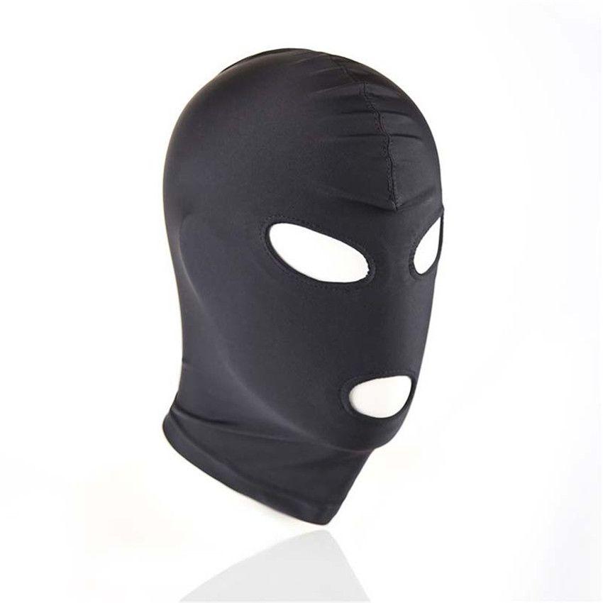 BDSM Bondage Black Mask prodotto del sesso giocattolo Fetish SM per coppia uomo donna Hood Mouth Eye Slave Gioco per adulti