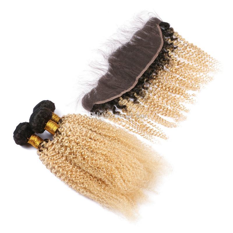 Темный корень кудрявый вьющиеся волосы девственницы плетет с кружевом фронтальный омбре блондинка #1b 613 афро вьющиеся волосы пучки с фронтальной закрытия 13x4