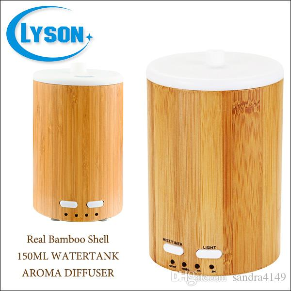 Real Bamboo Shell 150Ml Capacity Mini Ultrasonic Aroma Humidifier With Color-Changing LED Adapter Essential Oil Diffuser