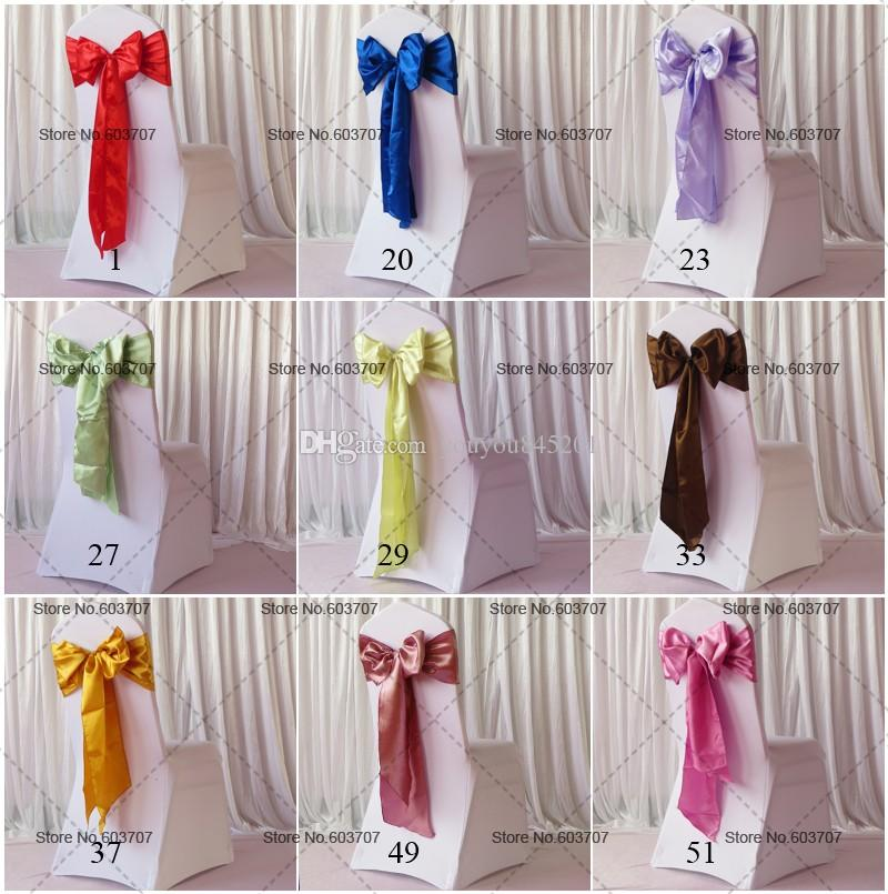 100Pcs Wholesale More Than 100 Colors Spandex Chair Sashes Yellow/Red/Blue/Green/Violet/Pink Satin Chair Sash For Wedding