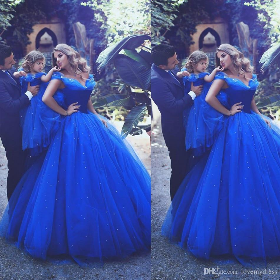 Cinderella Formal Party Gown Off Shoulder Floor Length Sequin Blue Pageant Dresses Sleeveless Custom Formal Free Shipping Special Occasion