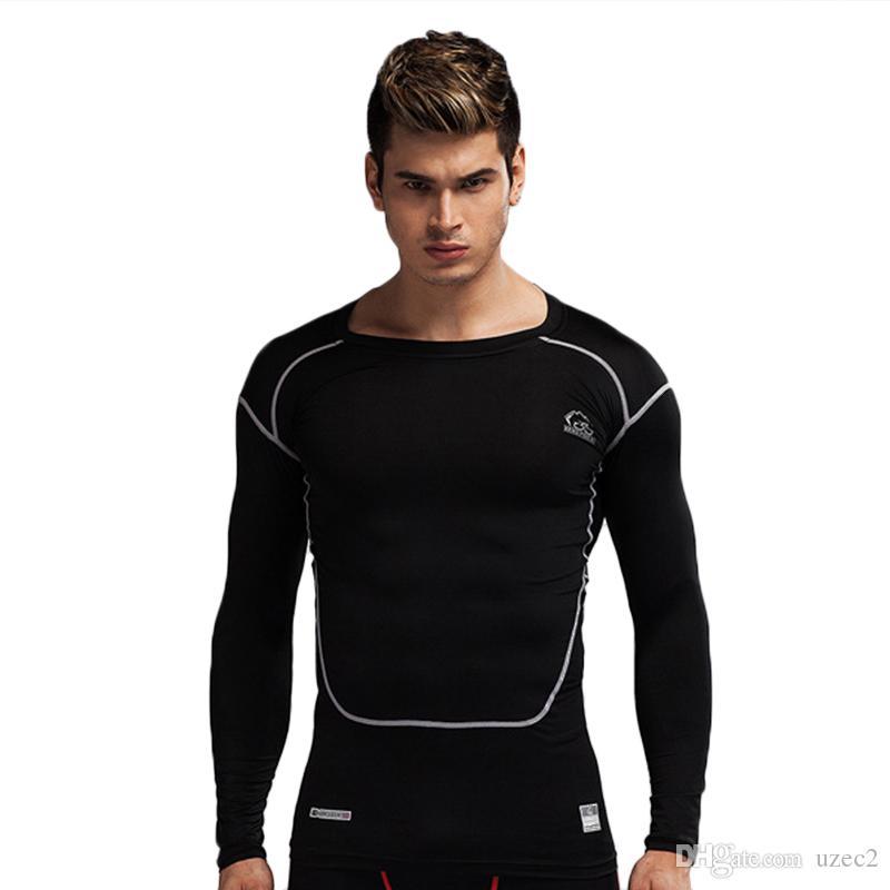 De nouveaux corps collants PRO de sport pour hommes extensible à manches longues séchage rapide santé transpiration respirant vêtements de formation des entraîneurs