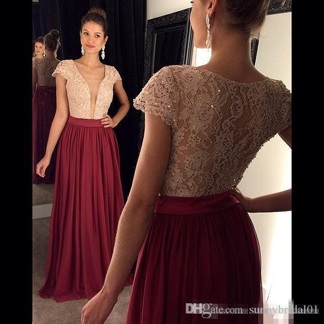 Formal Sequins Lace Short Capped Sleeves Chiffon Long Burgundy Turquoise Prom Dresses 2017 Deep V-Neck Floor Length Evening Party Dress