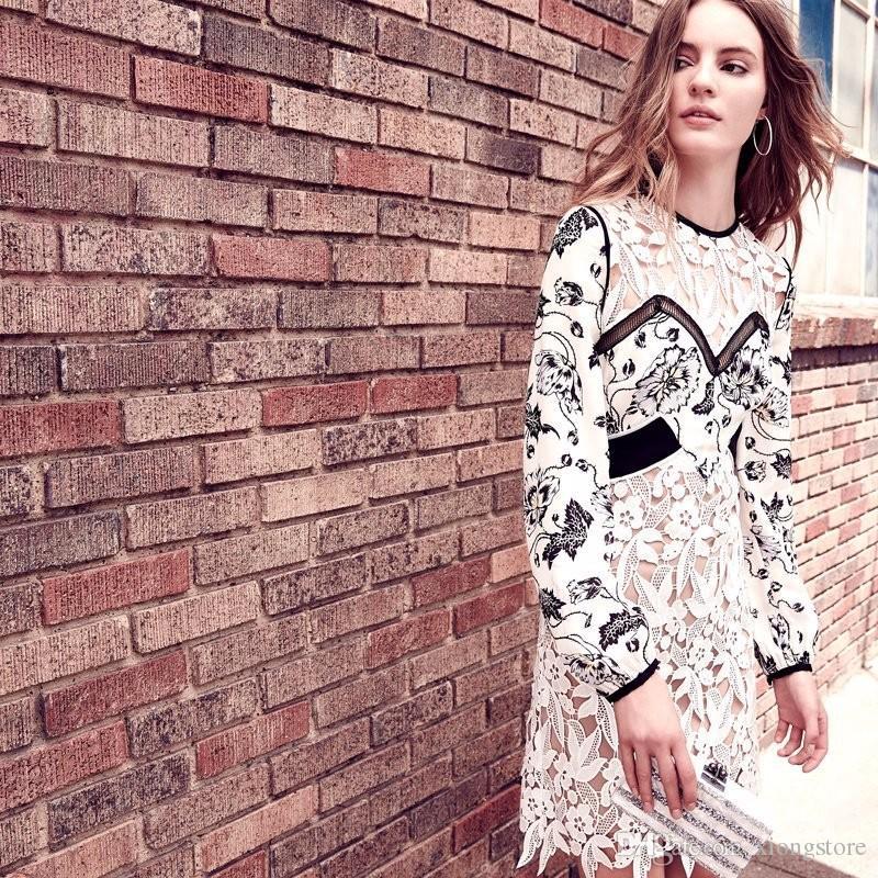 Boho Ispirato 2019 vintage guipure pizzo patchwork floreale stampa abiti da festa manica lunga in bianco e nero vestito da donna vestidos di marca