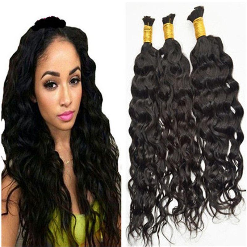Toplu İnsan Saç Brezilyalı Saç Doğal Siyah Renk Doğal Dalga 3PCS Lot Malezya Hint Peru Moğol Toplu İnsan saç örgü için
