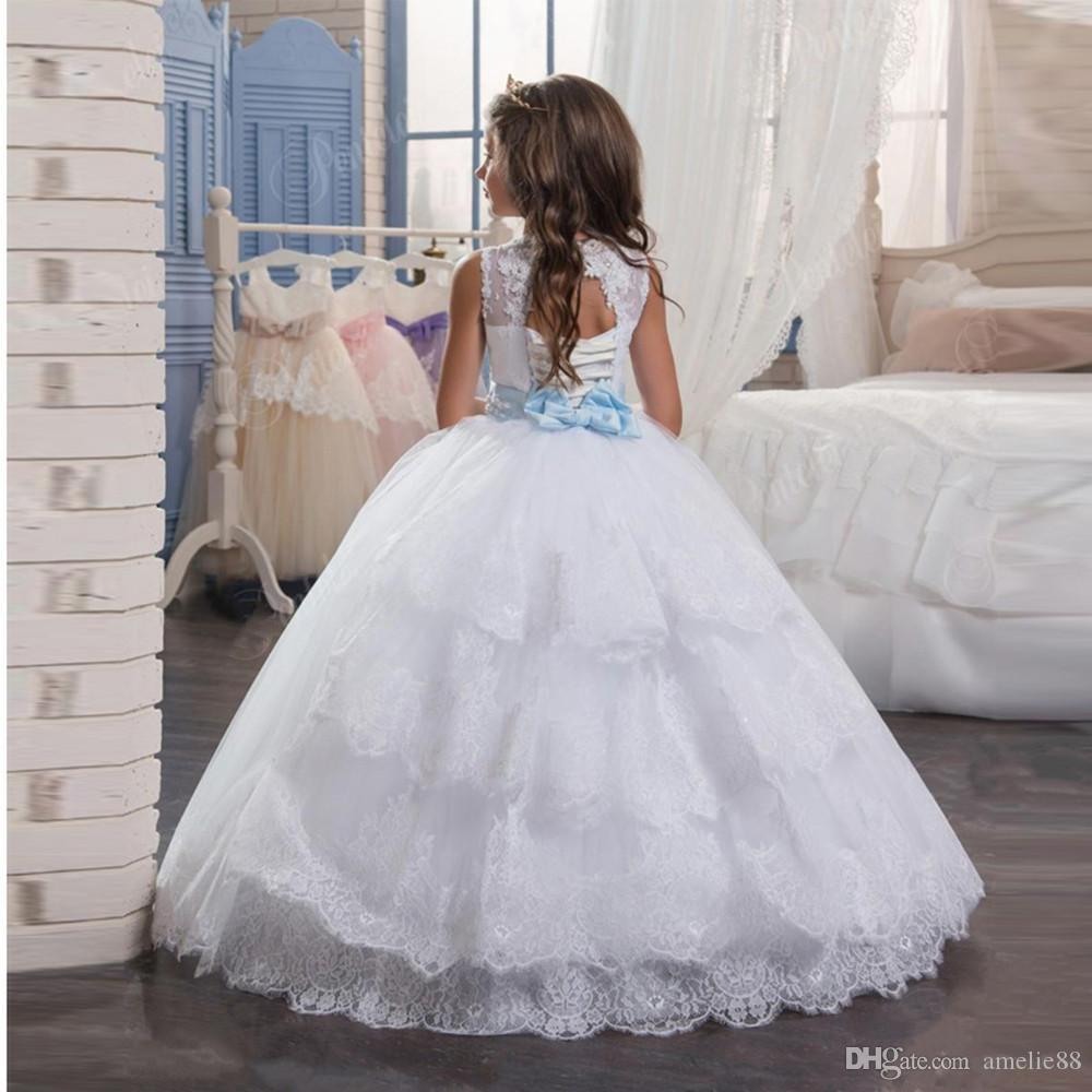 2017 new princess hot white flower girl dress with blue sash floor 2017 new princess hot white flower girl dress with blue sash floor length girls first communion izmirmasajfo