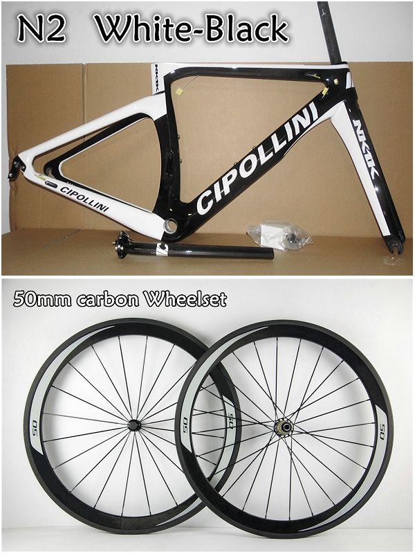 White-Black road bike 50mm carbon wheels+T1000 3K/1K Cipollini NK1K carbon road frames with XXS/XS/S/M/L BB30/BB68 free shipping