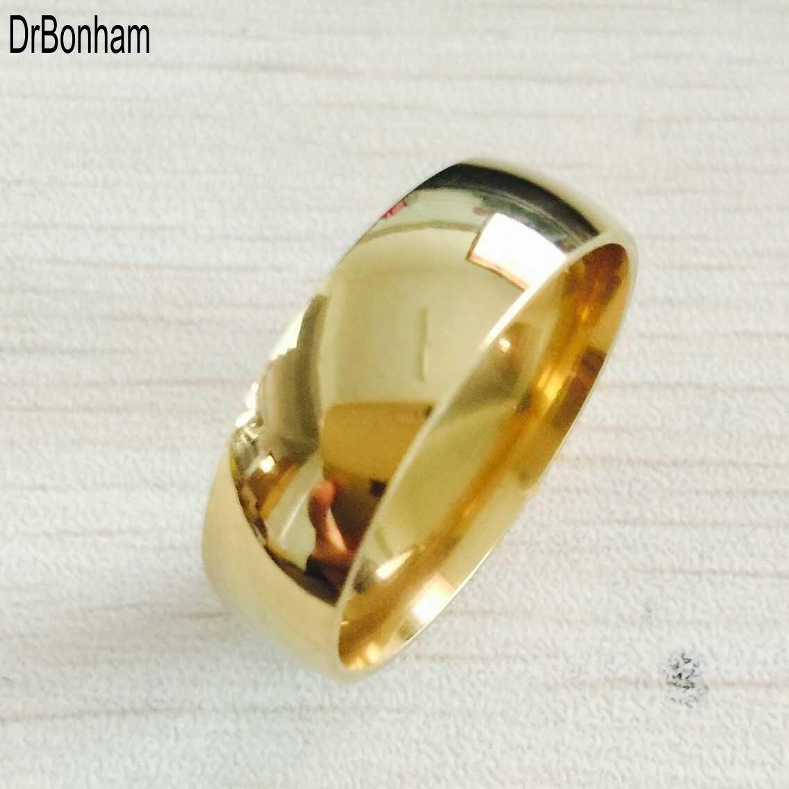 클래식 넓은 8mm 남자 웨딩 골드 반지 진짜 18K 골드 316L 티타늄 손가락 반지 남성을 위해 채워 결코 미국 페이딩 미국 크기 6-14
