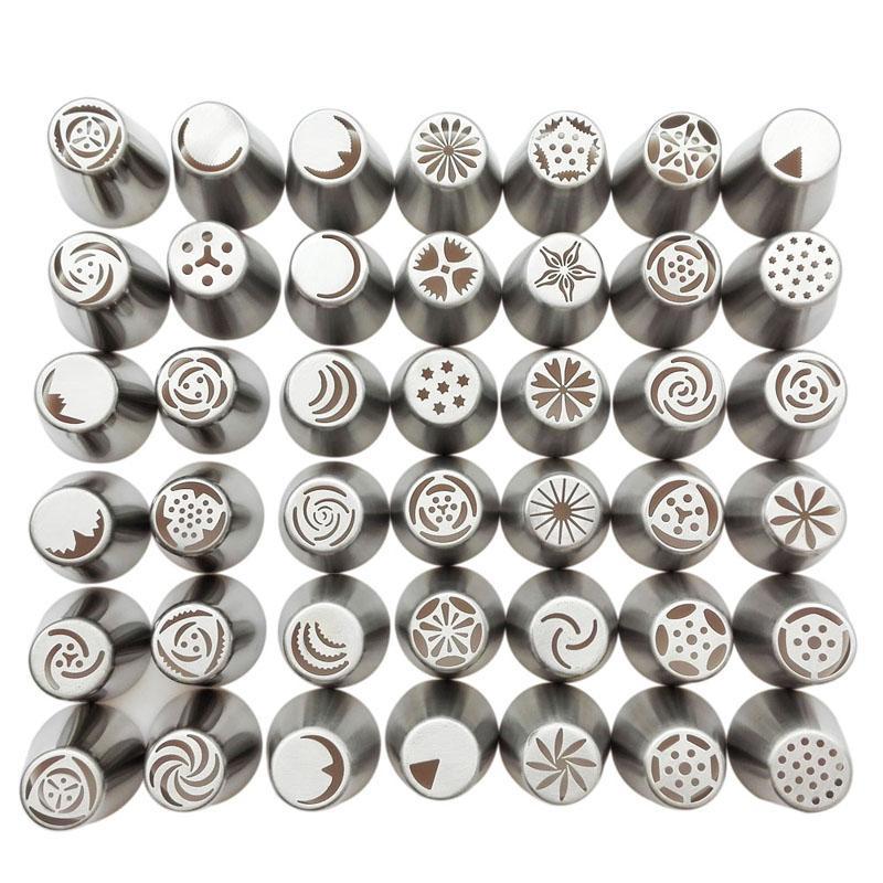 42Pcs = 1Set = 1lot Icing Piping Nozzles 팁 러시아어 팁 패스트리 케이크 부엌 베이킹 용 장식 도구 꾸미기