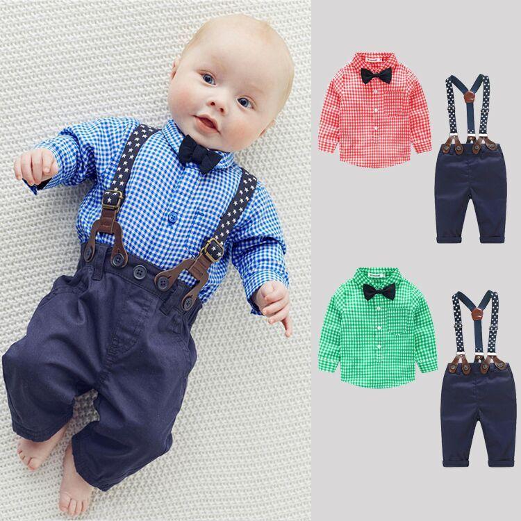 2PCS scherzt Säuglingsbaby-Plaid-Kleid-Hemd + Hosenträger-Hosen-Kleidungs-Ausstattungen