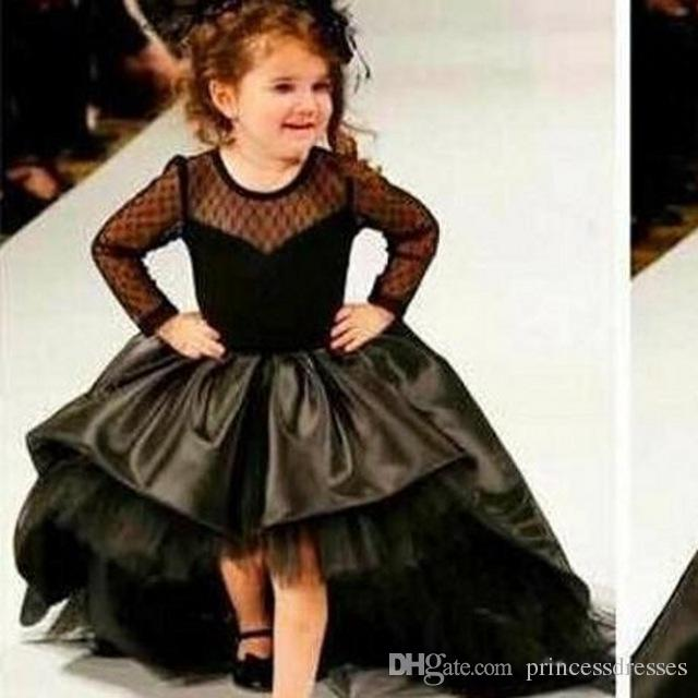 Hot Sale Princess Black Flower Girls\u0027 Dresses Long Sleeve Hi Lo Sweep Train  Ball Gown Pageant Dresses Kids Formal Wear Red Carpet Dresses Girl Dresses