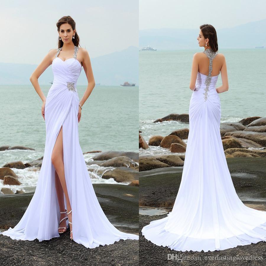 Kılıf / Sütun sapanlar Boncuk Kolsuz Uzun şifon Beach Gelinlik Ön Yarık Beyaz Kristaller Gelin Giydirme vestidos de Noiva renda ma