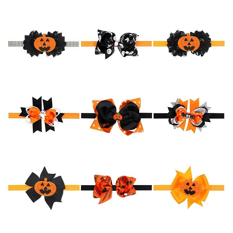 Wholesale- New 2016 Halloween Fashion Baby Hairbands Bow baby Headband Toddler Infant Bat Ghost Hair Accessories Children Elastic Headwear
