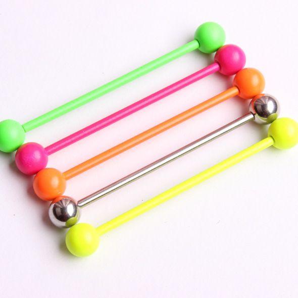5 caramelle colori 38mm Long Bar bilanciere industriale penetrante spirale orecchino Piercing Bar Ear acciaio Plug barella