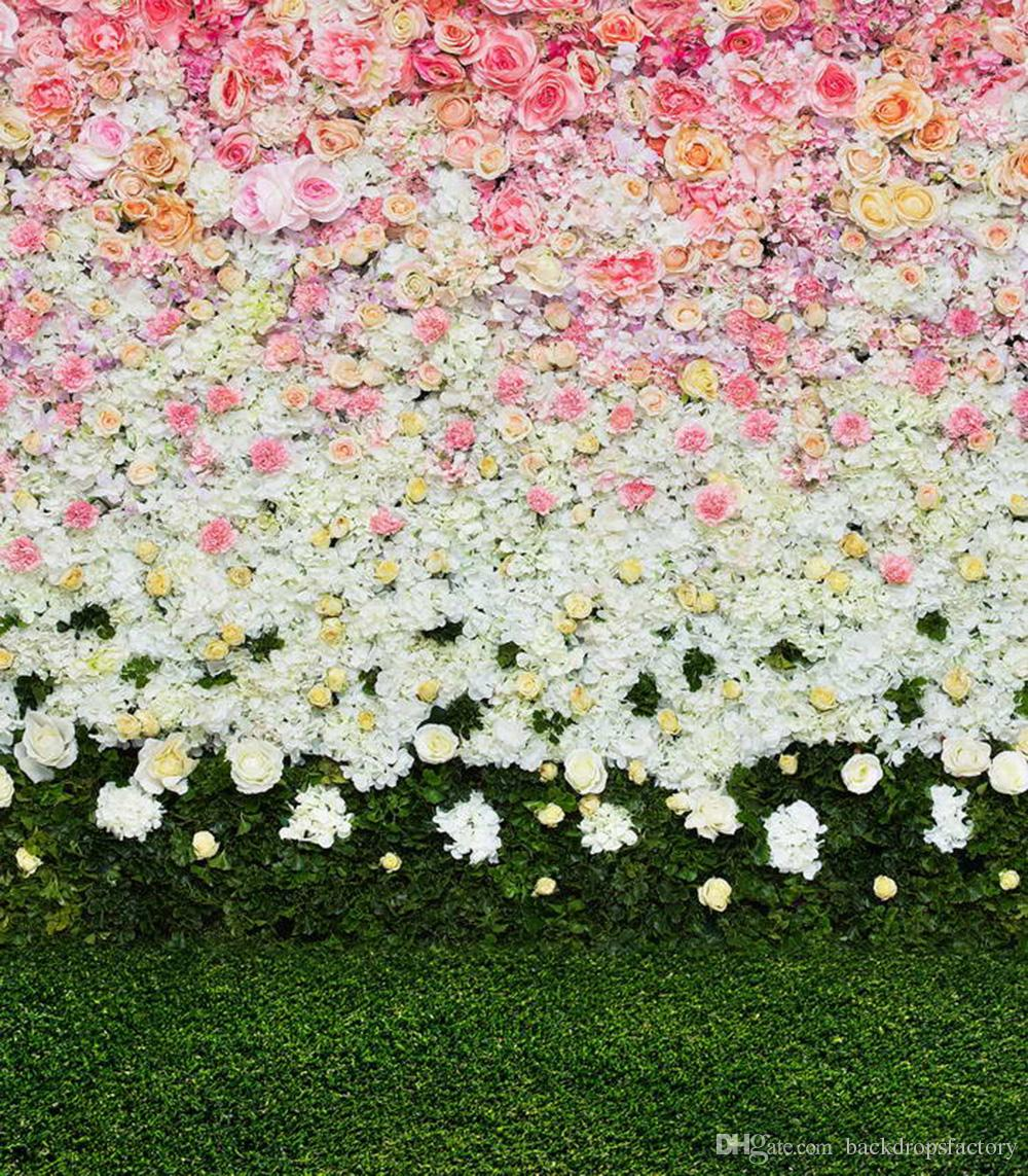 Digital Printed Pink White Flowers Wall Backdrop for Wedding Photography Spring Roses Blossoms Baby Kids Floral Background Green Grass Floor