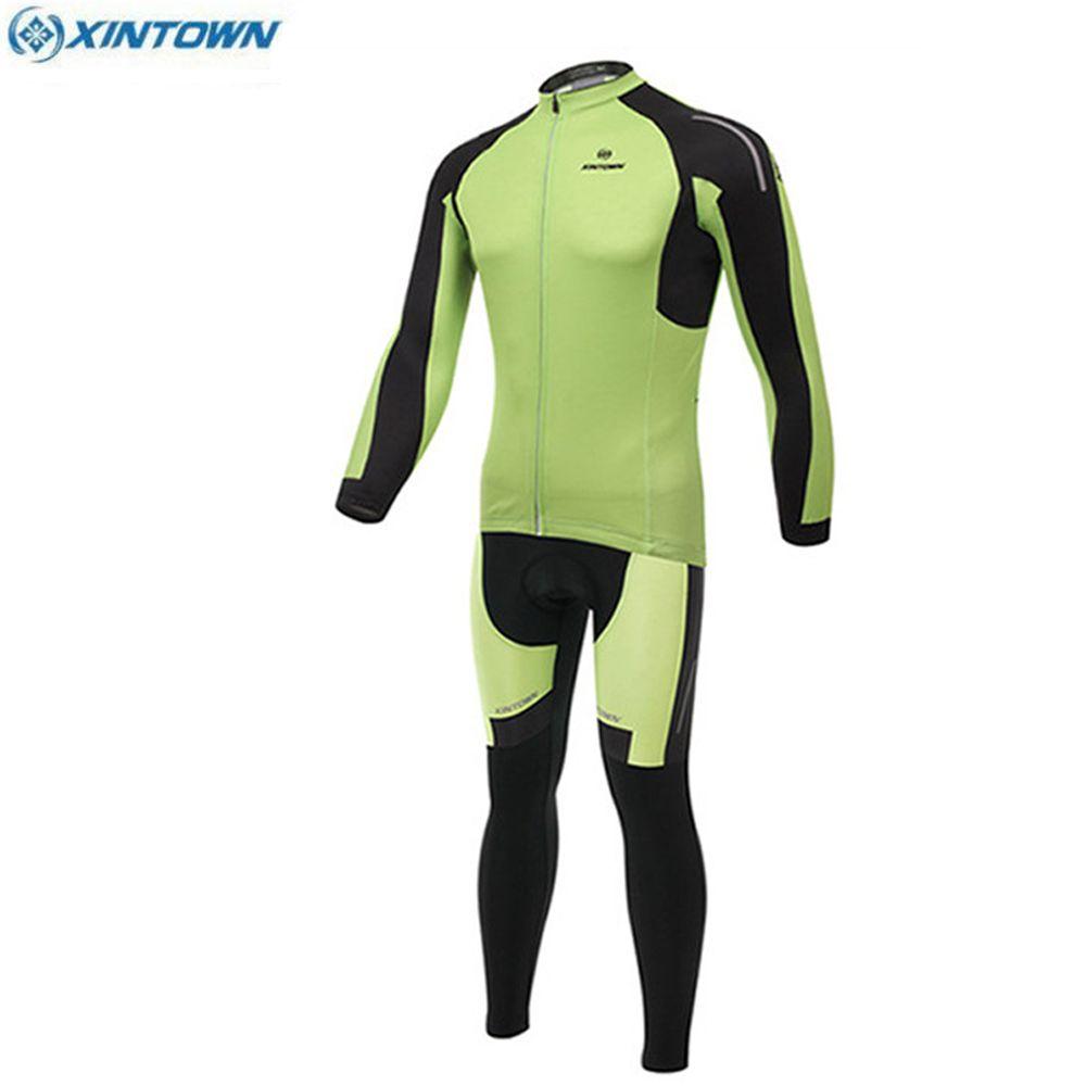 XINTOWN Riding 스포츠웨어 Long Sleeve Cycling 저지 그린 Mtb Bike Clothes Winterproof windproof Maillot Roup Ciclismo 사이클링 의류 세트