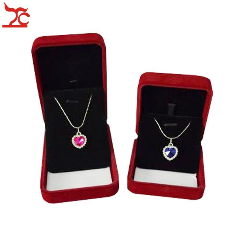 2Pcs Jewerly scatola di regalo dell'organizzatore dei monili della collana della scatola del pendente del velluto rosso scuro e nero scuro