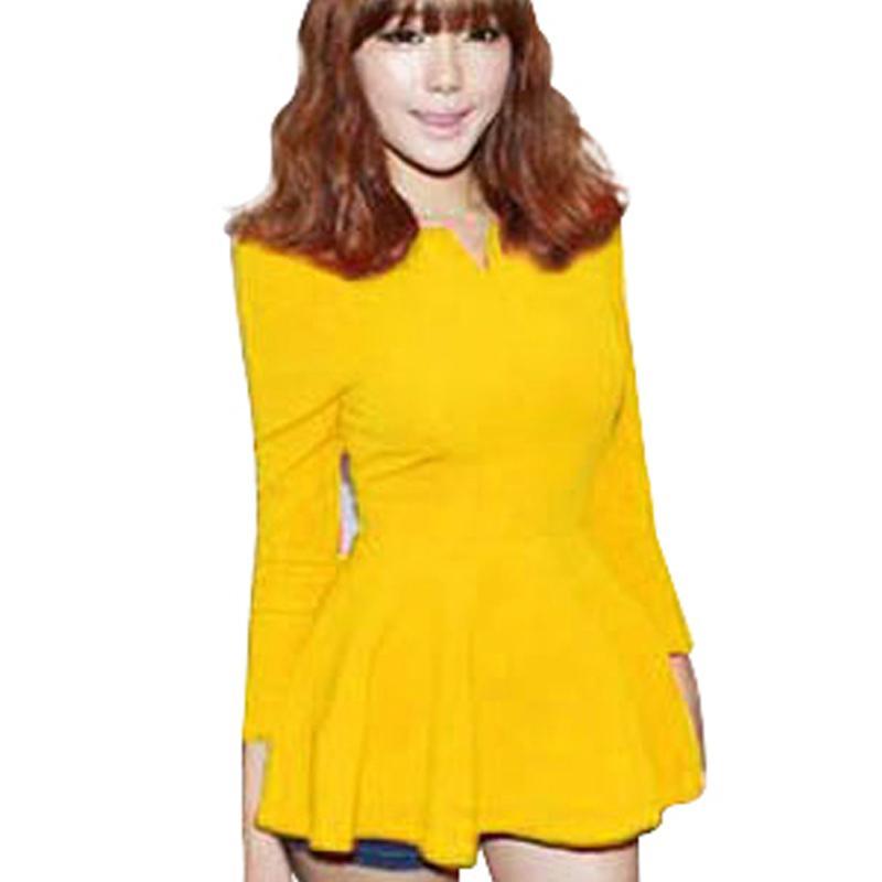 새로운 패션 아메리카 스타일의 여성 긴 소매 주름이 Peplum 탑스 블라우스 패션 사무실 레이디 다시 지퍼 품질 541