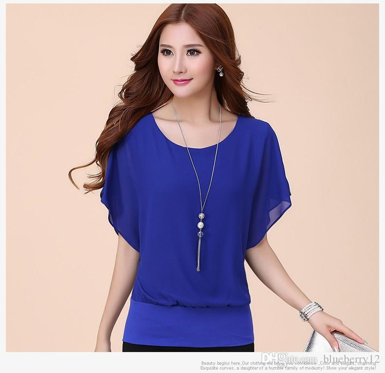 2020 New Womens Tops Fashion Women Summer Chiffon Blouse Plus Size
