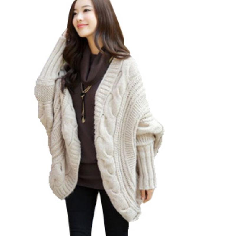 겨울 여성 느슨한 두꺼운 울 스웨터 배트 윙 슬리브 니트 카디건 자 켓 코트 캐주얼 스웨터