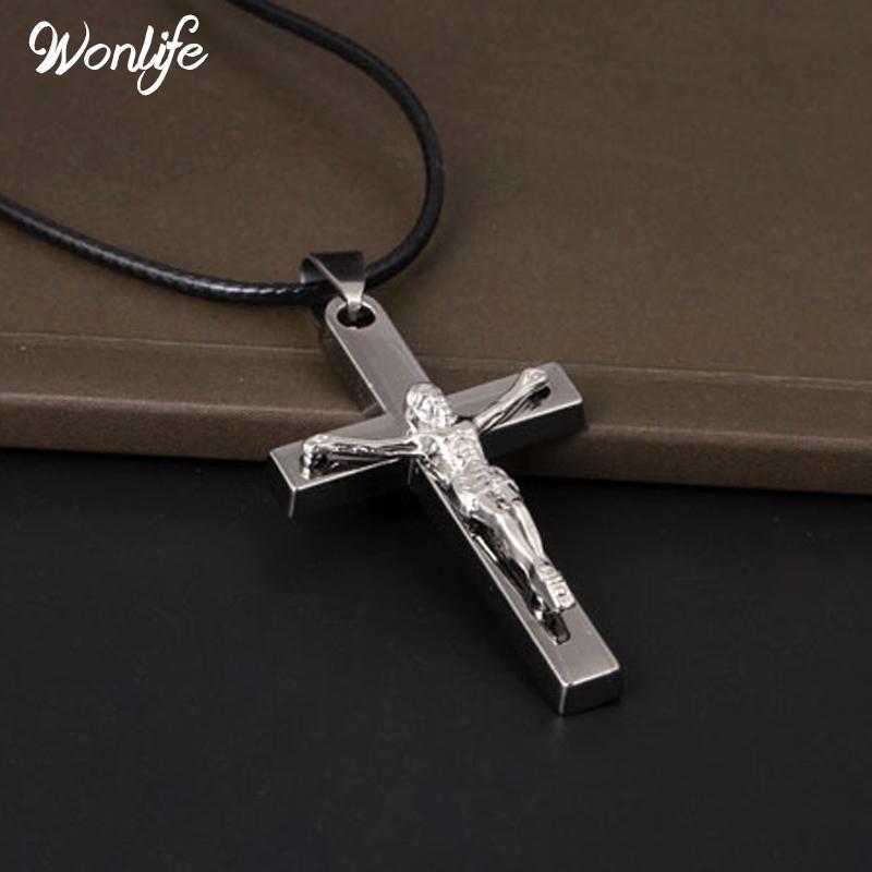 Collana di marca in argento colore gioielli croce antica croce crocifisso Gesù croce collane per le donne uomini