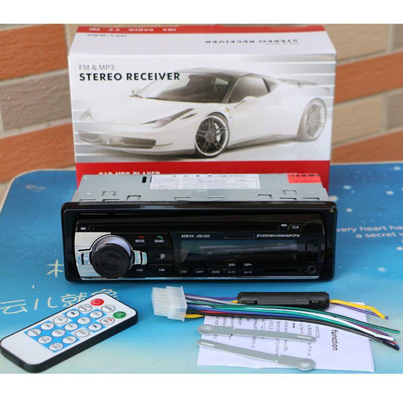 12V 블루투스 차량용 라디오 플레이어 스테레오 FM MP3 오디오 5V 충전기 USB SD AUX 자동 전자 제품 In-Dash Autoradio 1 DIN NO DVD JSD-520