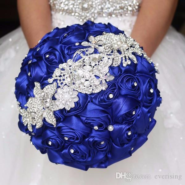 White/Ivory/Red/Royal Blue Crystal Wedding Bouquets Wedding ...