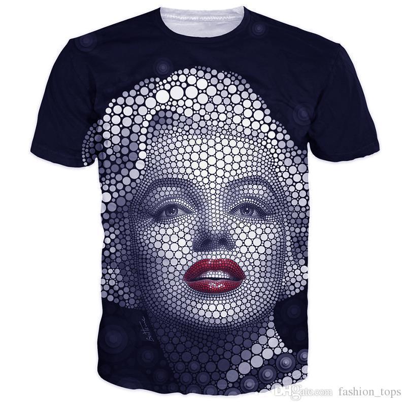 Mulheres homens camisetas engraçadas design criativo Marilyn Monroe impressão gráfica t camisas casual preto 3d camiseta tops camisetas
