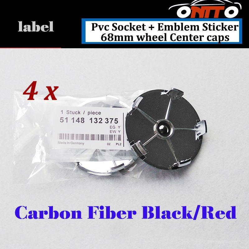 4Pcs 68mm Auto Wheel Center Logo Caps Car Wheel Hub Emblem Cover Carbon Fiber Red Black Good Quality PVC