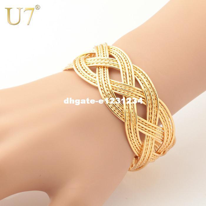U7 Manşet Bilezikler Toptan Altın Kaplama Dubai Takı Kadınlar / Erkekler Hediye için Trendy Altın Örgü Bileklik Bilezik H403