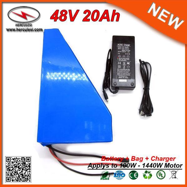 Üçgen tarzı 48 V Lityum İyon batarya 48 v 20Ah Elektrikli Bisiklet pil için 1000 W elektrikli Scooter ile 30A BMS