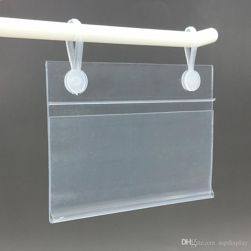 Various Sizes PVC Plastic Price Tag Sign Label Display Holder With 2 Buckles For Supermarket Shelf Stand Hook Rack 50pcs