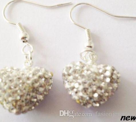 regalo di nozze caldo migliore Mix colori bianco discoteca Perline palla cuore goccia goccia Ciondola cristallo Orecchini di cristallo Stud donne i3535