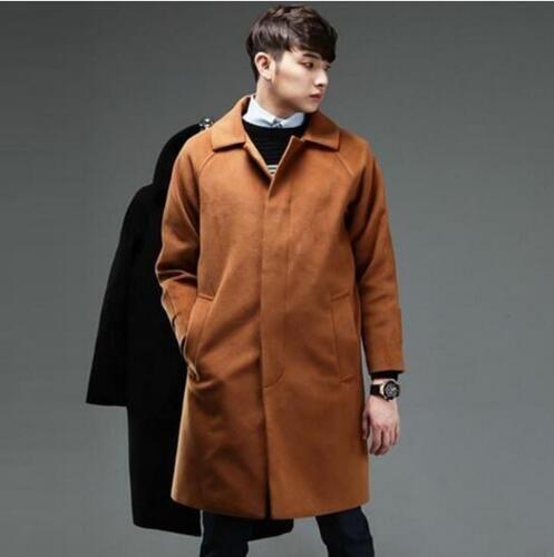 Negro casual hombres sueltos abrigos de lana abrigo de un solo pecho abrigo de cachemira para hombre casaco masculino inverno erkek mont sobretudo