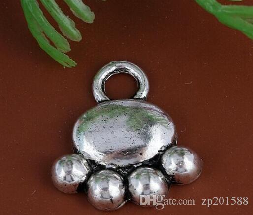 Vintage Silver Dog Paw Prints Charms Pendants For Women Dress Bracelet Necklace Fashion Jewelry Making Gifts New Girls Bijoux 120PCS A28