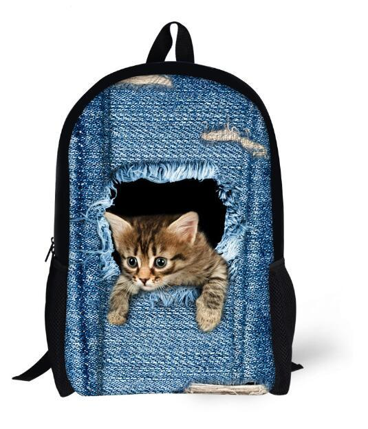 New 2017 Kawaii Animal Cat Backpack for Girls Fashion Children School Bag Cute Dog Backpack Cat Face Kids School Backpack