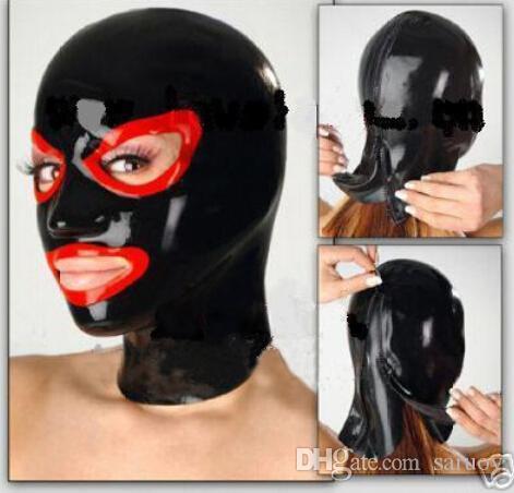 Produtos sexy estilo clássico lingerie exótica artesanal de látex vermelho aberto olhos e boca capuz máscara cekc fetiche traje zentai