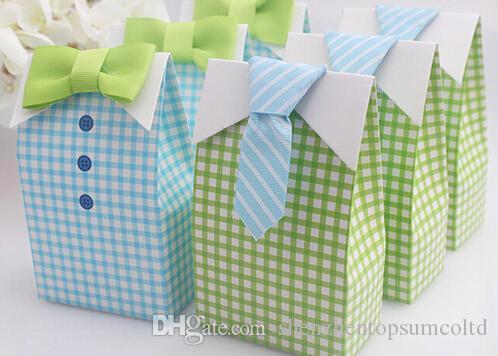 내 작은 남자 푸른 녹색 나비 넥타이 생일 소년 베이비 샤워 부탁 400pcs = 200pairs 사탕 상자