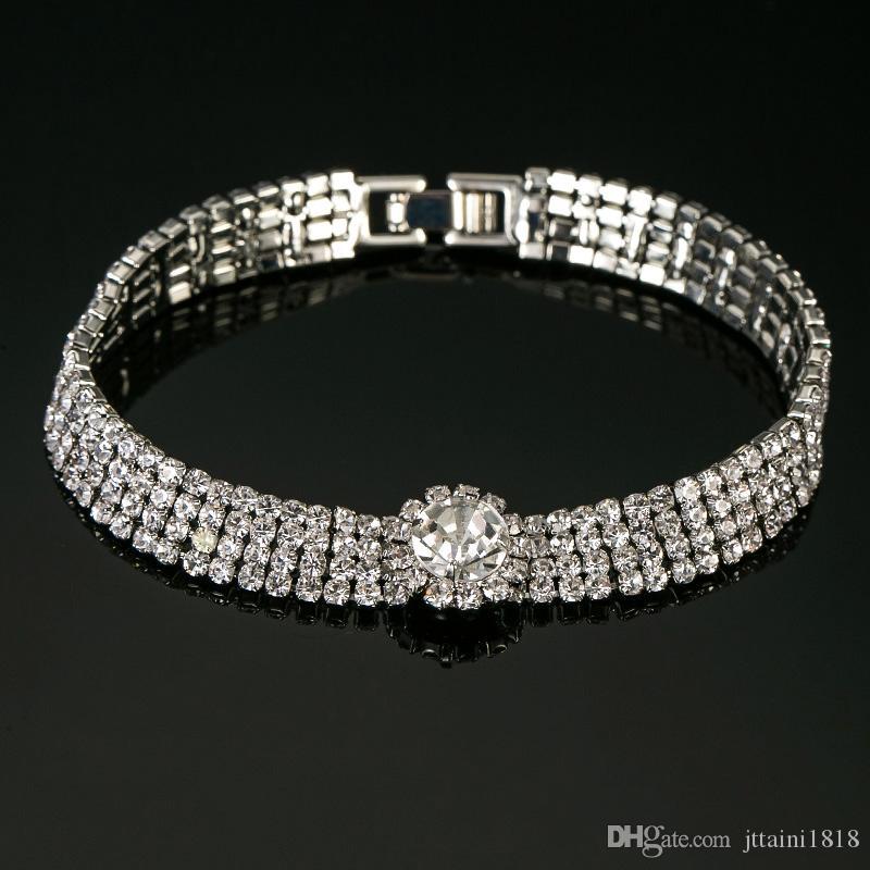 Delicato braccialetto a forma di catena di moda tono cristallo strass Chic gioielli per donna signora Bridal Prom Bracciale