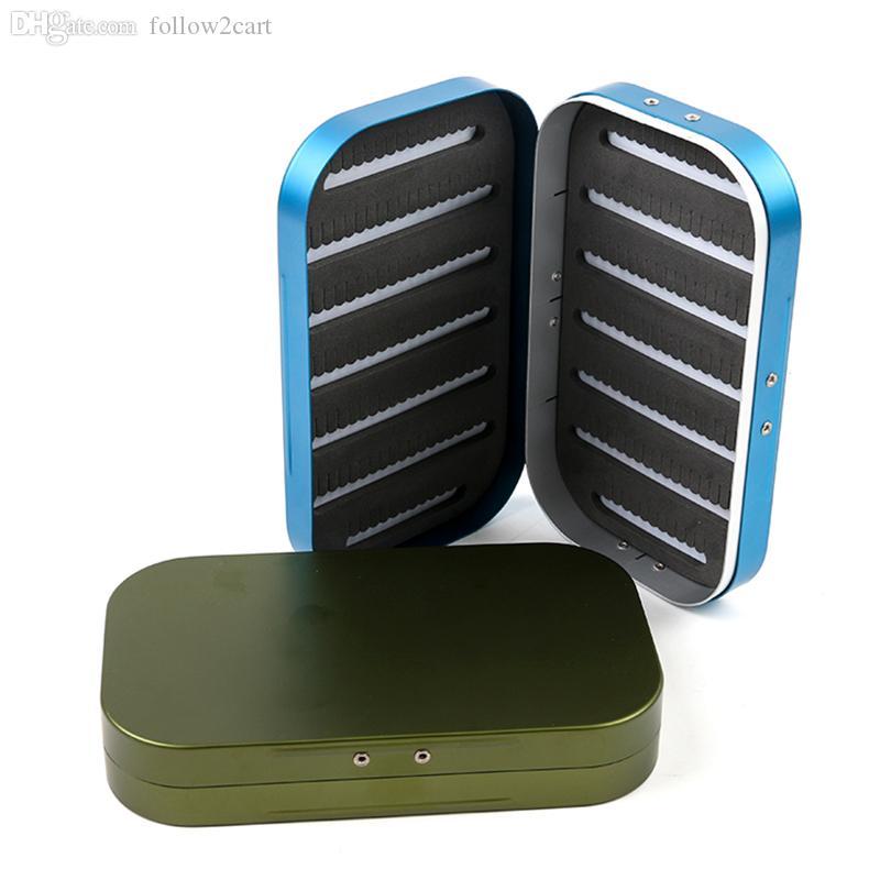 Yüksek Kaliteli Alüminyum Ince Köpük Sinek Kutuları Aksesuarları Mücadele 155 * 92 * 28mm Çok Fonksiyonlu Sinek Balıkçılık Cazibesi Kutu Kutu Mavi / Ordu Yeşil
