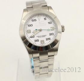 Luxo Homens Movimento Automático Relógios Mecânicos Waterproof pulseira de aço inoxidável Buckle Branco Dial Mens relógio de pulso do esporte