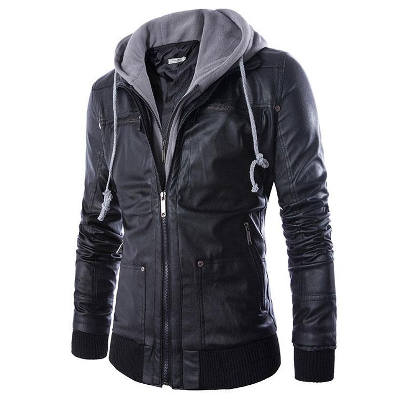Wholesale- Men Locomotive Leather Jackets Fashion Mens Hoodie PU Coat False two motorcycle leather Jaqueta De Couro Masculina Slim Leather