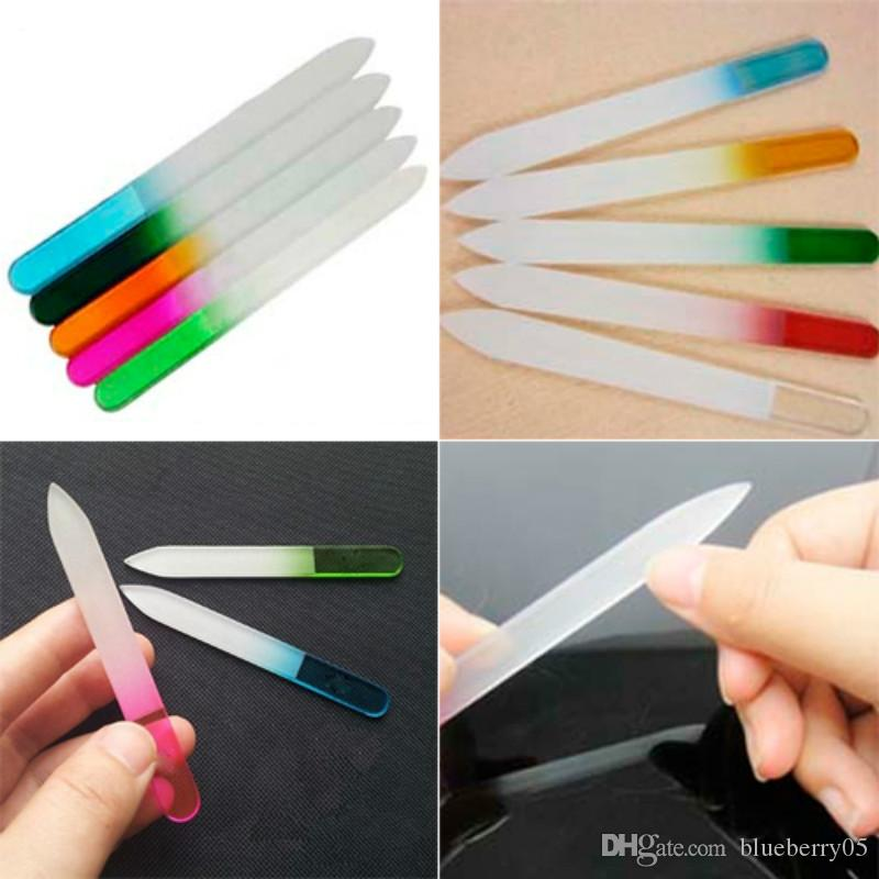 Wholesale- Professional Nail Art Salon Tips Polish UV Gel Crystal Glass File Buffing Manicure Tool Chic Design
