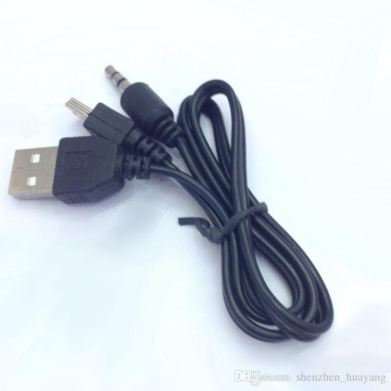 100 Adet USB 2.0 Kablosu Mini USB Erkek Ve Erkek 3.5mm Fiş Ses / Video Hoparlör Kablosu 50 CM Siyah Taşınabilir Hoparlör Ses Kablosu (DY)