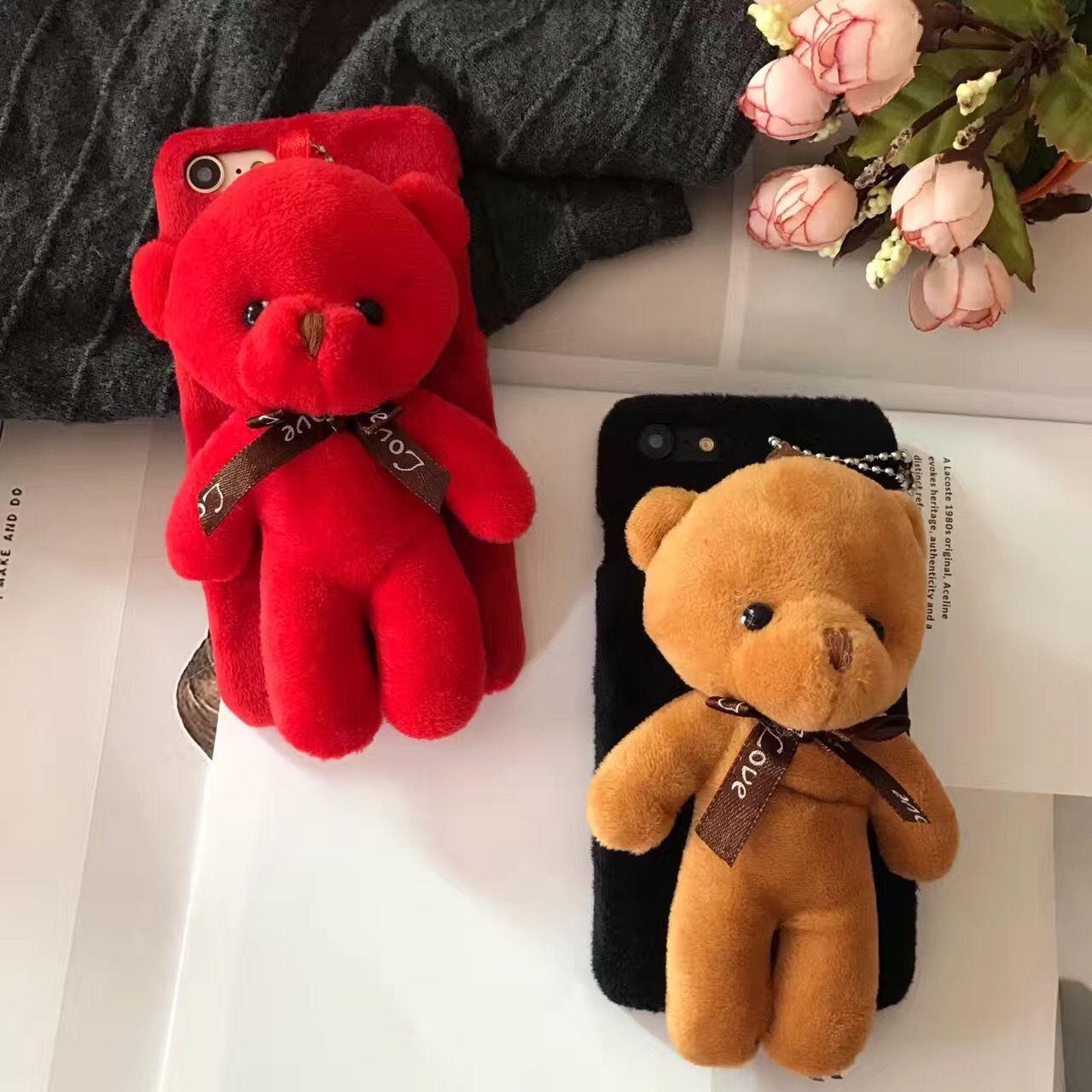 For Apple iphone 6 6s 6plus 6s plus Cute 3D bear plush doll cartoon PC phone cases original smartphone Plastic cover