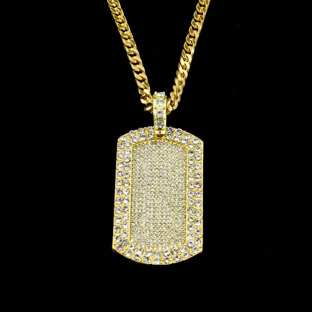 Nuovi uomini di marca donne Hip-Hop lega collana placcato in oro Blingbling collana del pendente del soldato strass pieno unisex gioielli